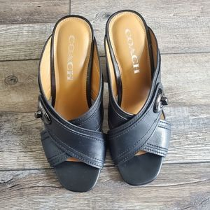 Coach meggie black leather heels